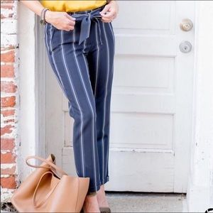 LOFT striped tie waist crop trousers size 10